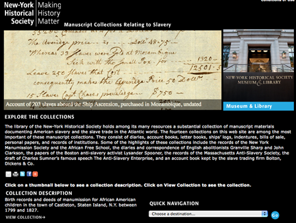 NY Historical Society Slavery Collection