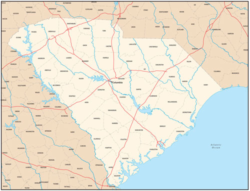 South Carolina state map with county outlines