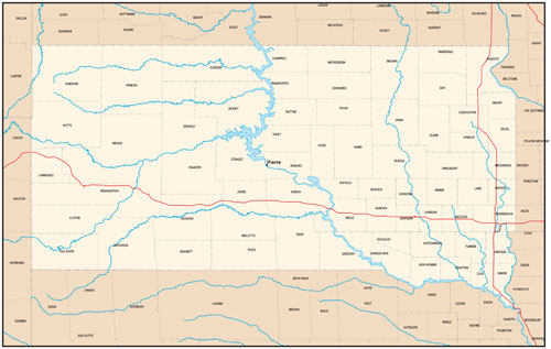 South Dakota state map with county outlines