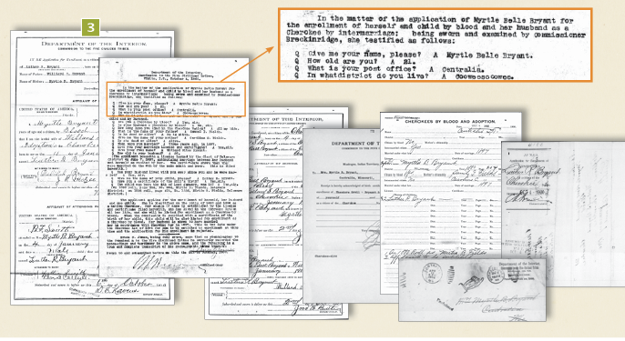 Myrtle Bryant application forms.