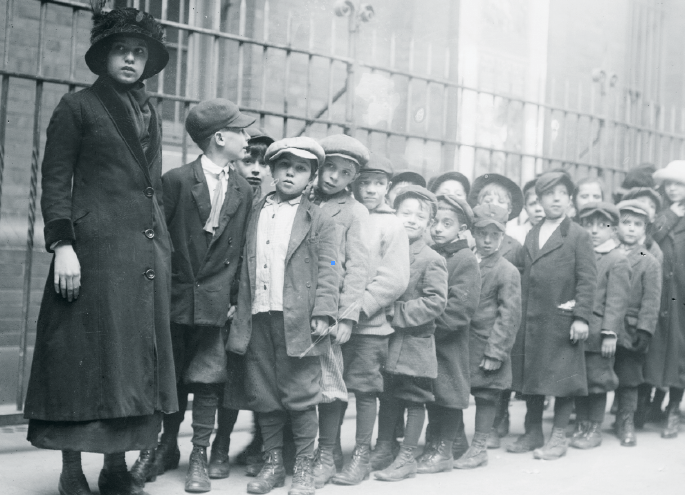 Orphan boys standing in a line inNew York City.