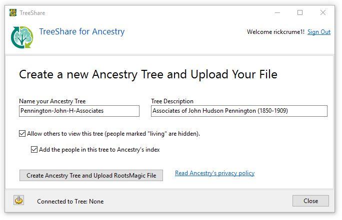 TreeShare Online Tree Step 2