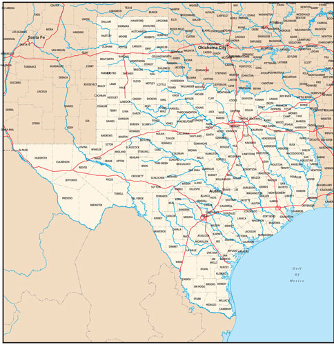 Texas state map with county outlines