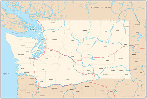 Washington state map with county outlines