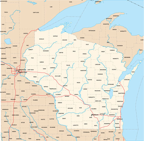 Wisconsin state map with county outlines