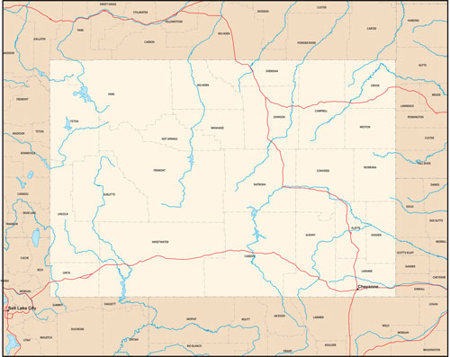 Wyoming state map with county outlines