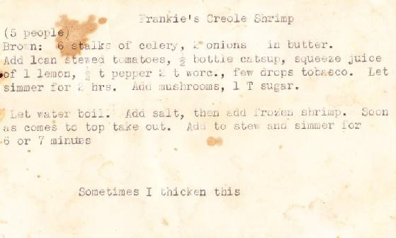 Grandma's Recipe for Creole Shrimp from a vintage recipe card | Tasty Family Recipes from FamilyTreeMagazine.com