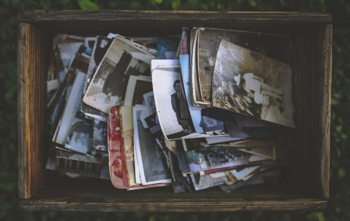 Old family photos in a box.