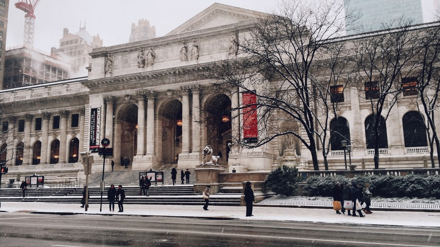 New York Public Library in winter.