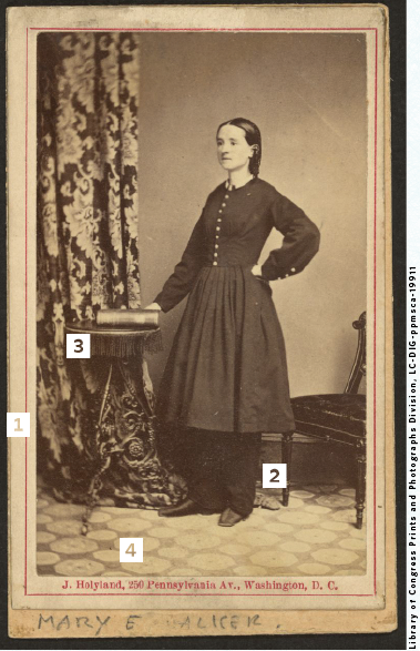 Portrait of Civil War surgeon Mary E. Walker.