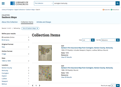 Searching the LOC's collection of online Sanborn maps.