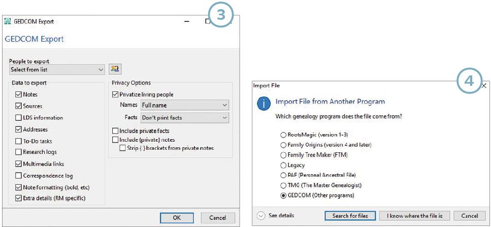 Screenshots show GEDCOM export process