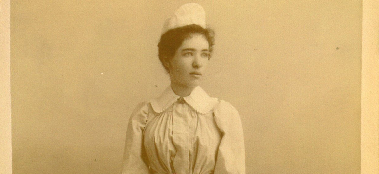 old photo of 1890s nurse