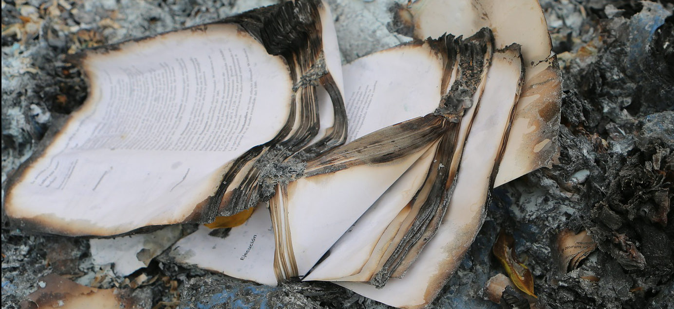 destroyed record, banned books, courthouse fire, fire, damaged record