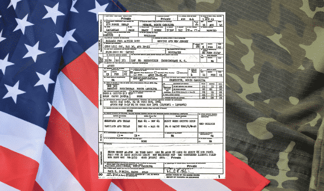 DD 214 form with American flag and military uniform in the background.