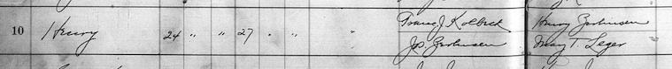 Hnery Kolbeck baptismal record