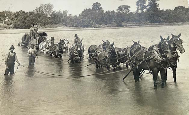 old photo river crossing
