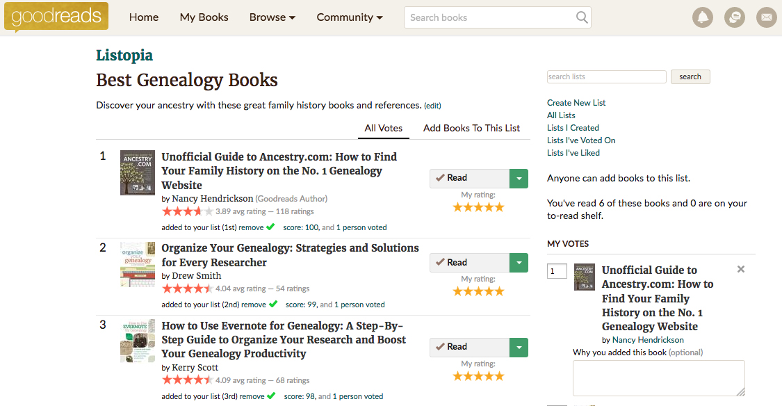 Vote for your favorite genealogy books on our Goodreads list.