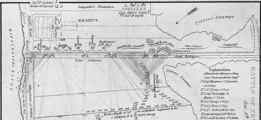 See how General Andrew Jackson held off the British with this Battle of New Orleans map.