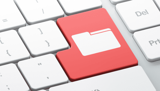 Red folder key on a computer keypad.