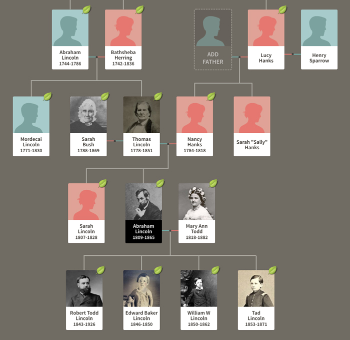 Abraham Lincoln's family tree, which hints at several tragedies (a murder, plus young deaths) as well as genetic mystery