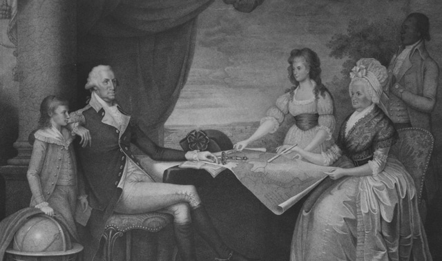 Family portrait of George Washington, Martha, and her two grandchildren Eleanor and George
