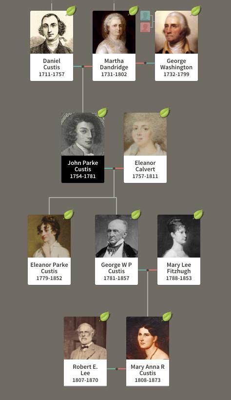 George Washington's family tree, including Robert E. Lee, who married one a descendant of Washington's stepson