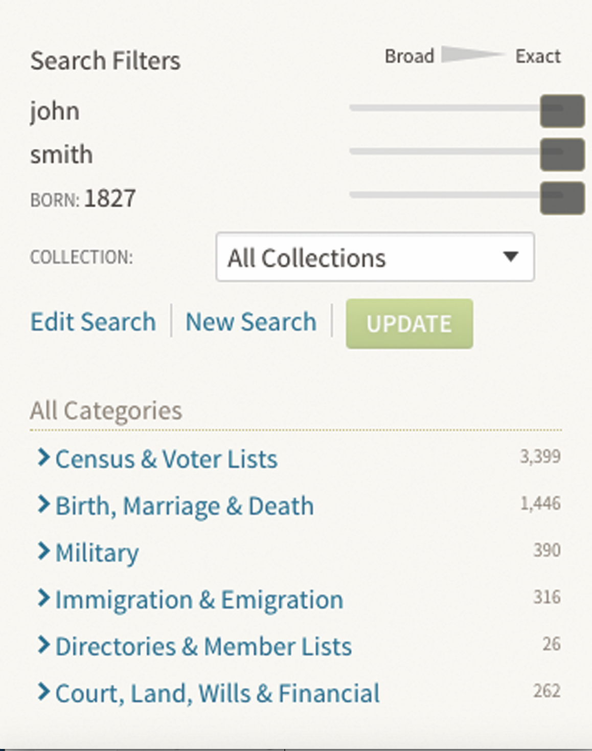 Ancestry.com search options tool records tips