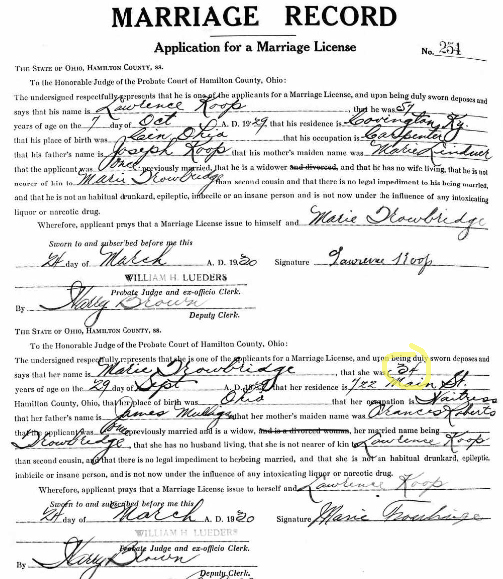 wrong age in a marriage record