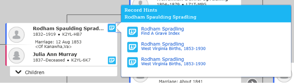 FamilySearch hints example