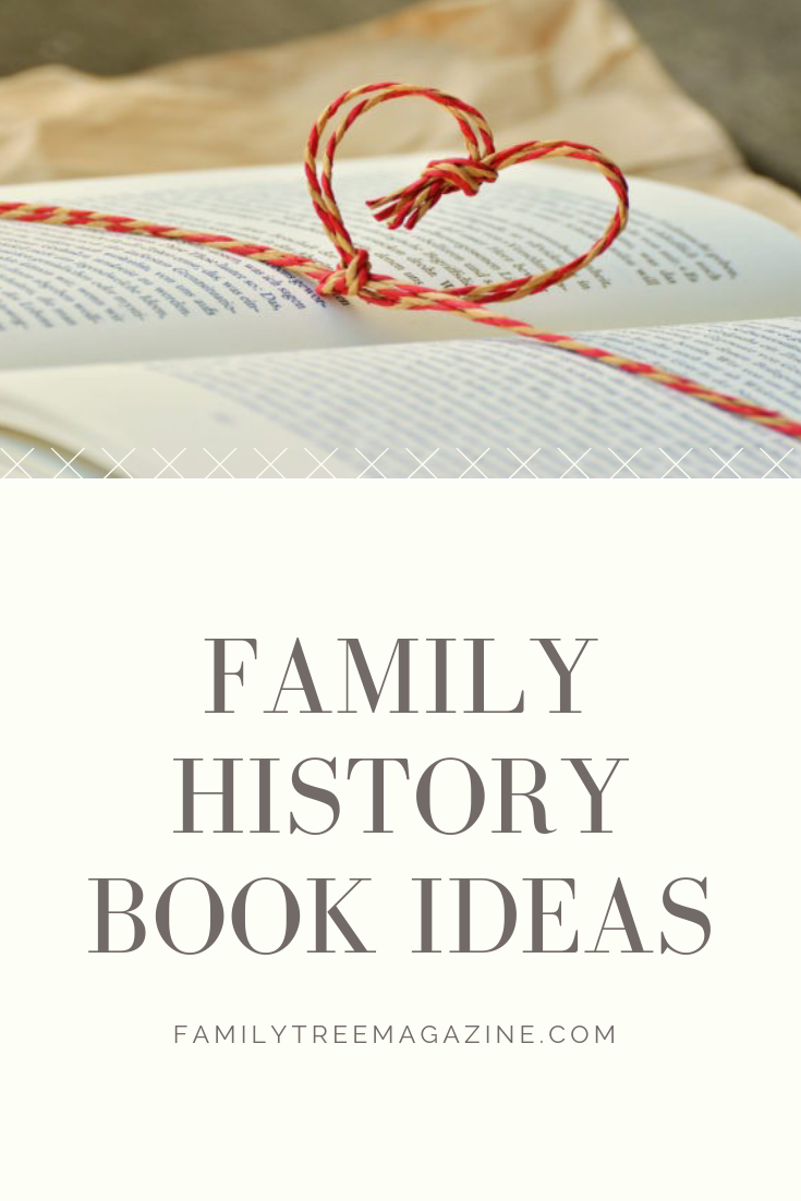 Family history book Pinterest image.