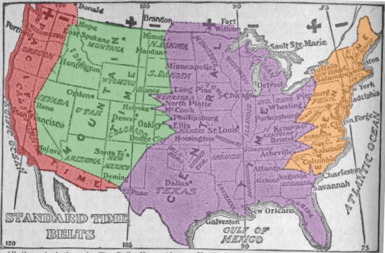 The history of time zones heavily involves railroads, who created the first time zones in 1883.