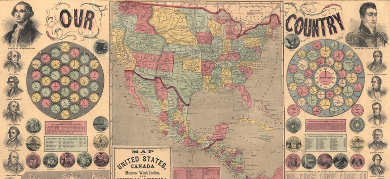 This historical map of the United States boasts a wide variety of information about US history.