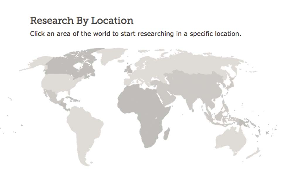 FamilySearch map showing collections by location