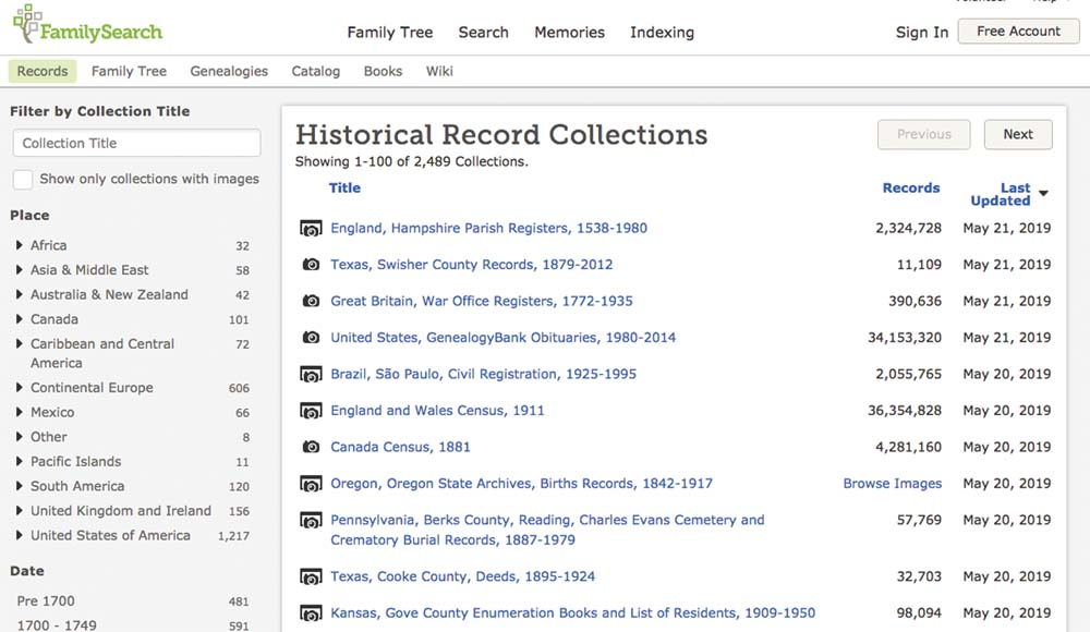 List of record collections at FamilySearch, sorted by date updated