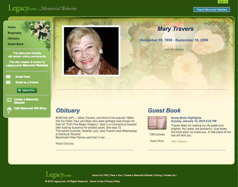 online memorial website loved one