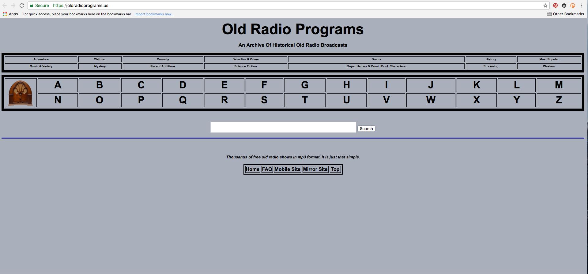 Old radio programs website image