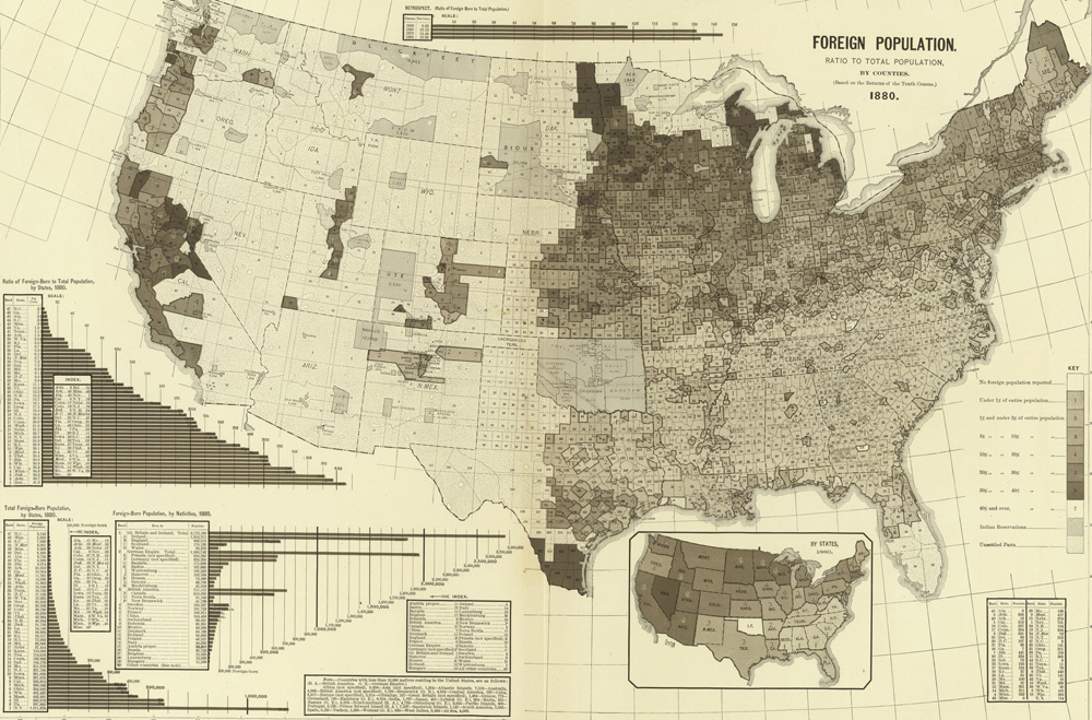 Gaze into the past with this foreign-born population map of 1880.