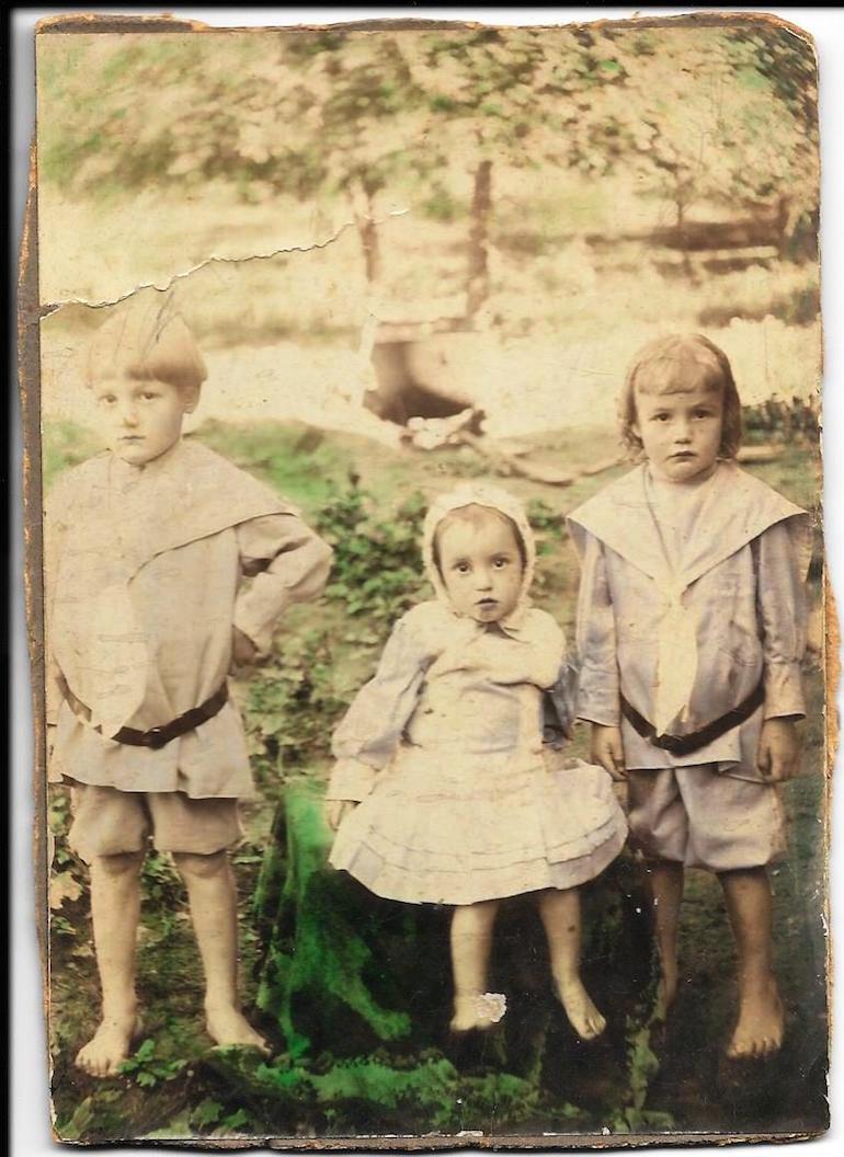 identifying children hand-colored photo