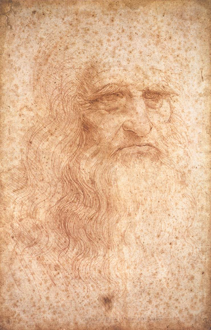 portrait of a man in red chalk