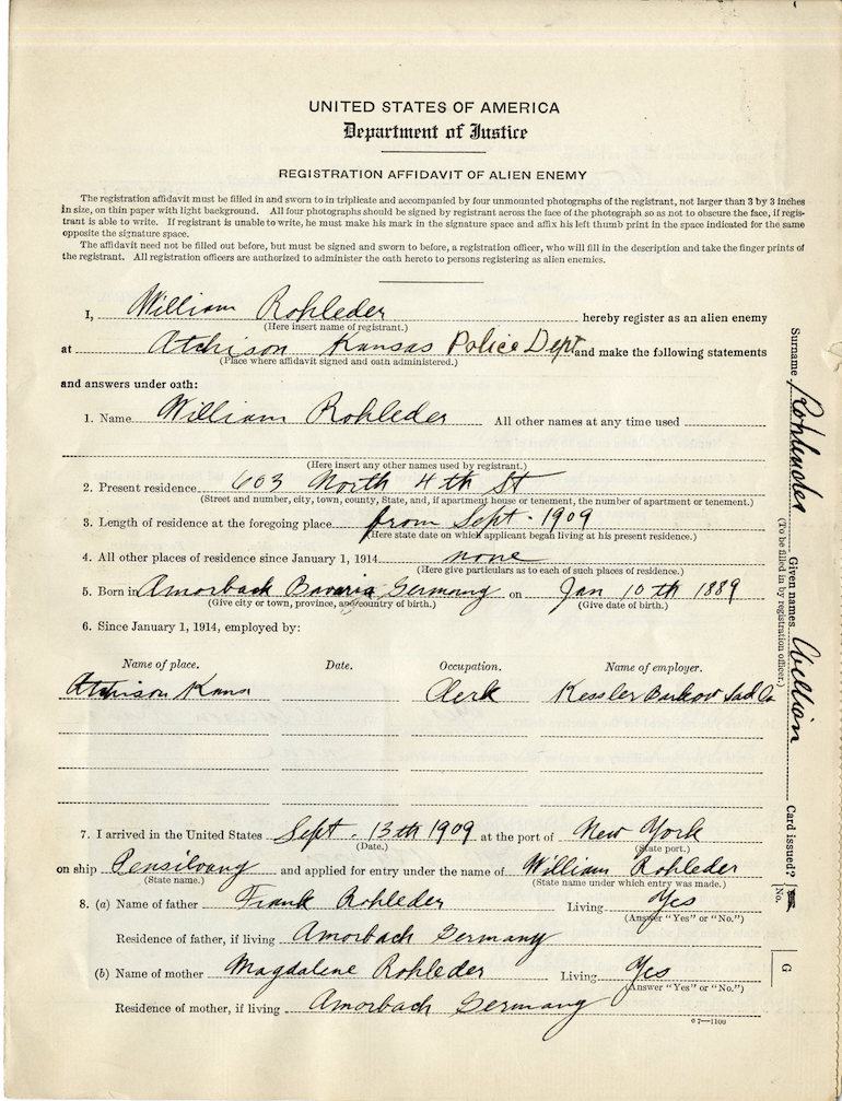Registration Affidavit Alien Enemy unusual records genealogy