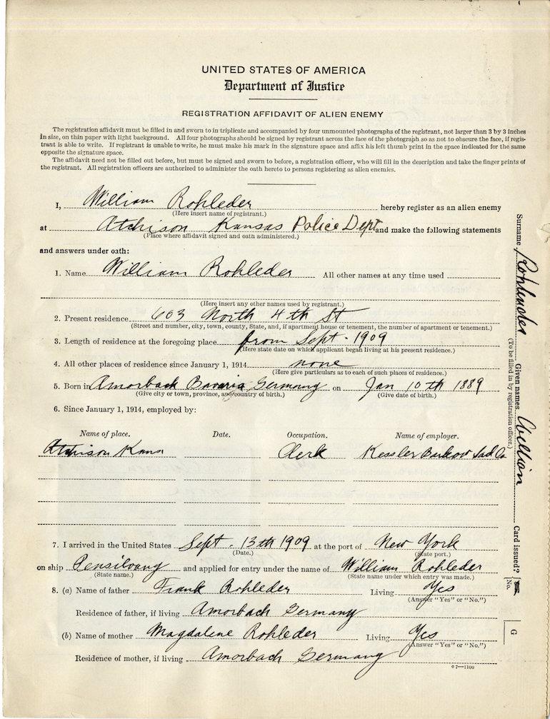 Registration Affidavit Alien Enemy unusual records genealogy