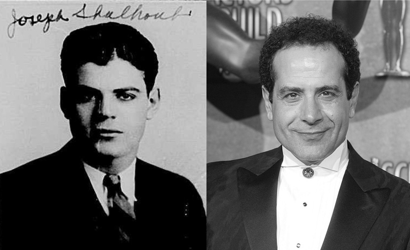 Tony Shalhoub next to his father at the time of his naturalization.
