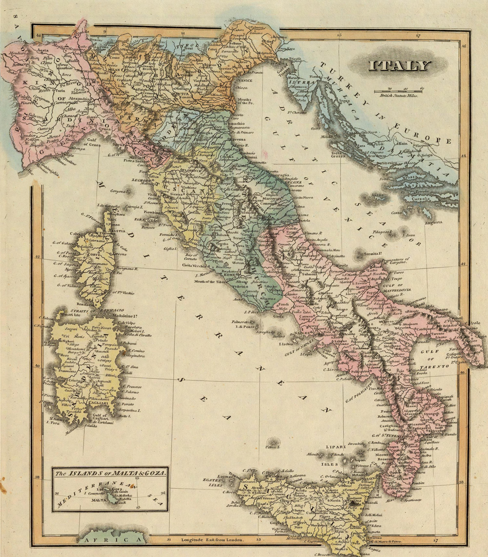 Your Italian ancestors may have identified with a city-state rather than a country, and this historical map Italy from 1823 shows you some of the most important.