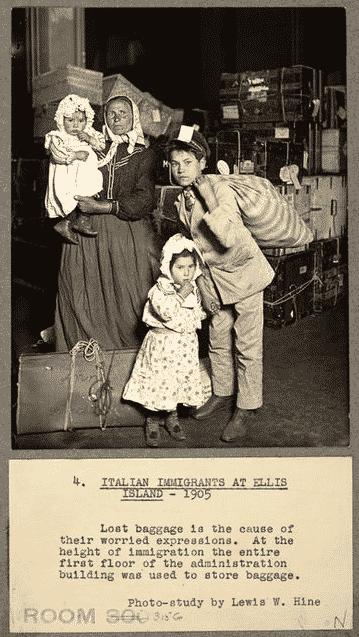 Italian immigrants arriving at Ellis Island in 1905.