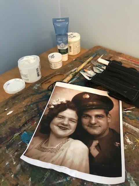 transfer old photos to canvas using gel medium