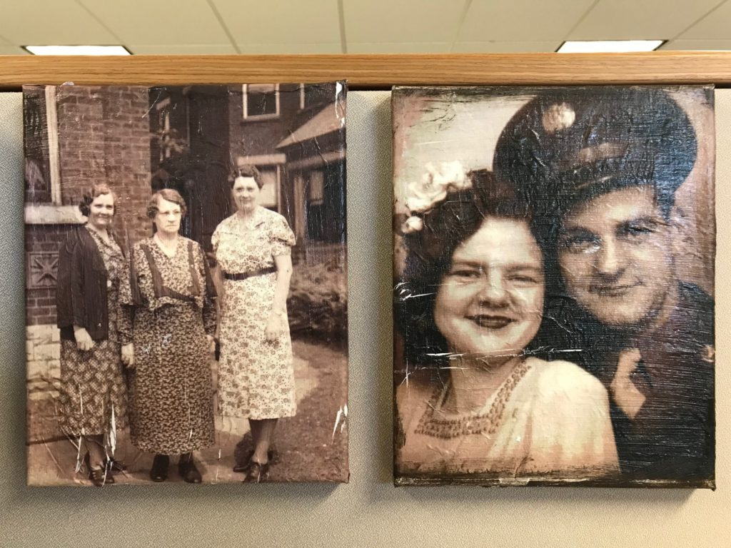 Photo transfers hanging on my cubicle wall