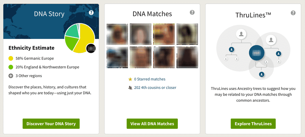 AncestryDNA home page, showing ethnicity estimates, shared matches, and Thrulines