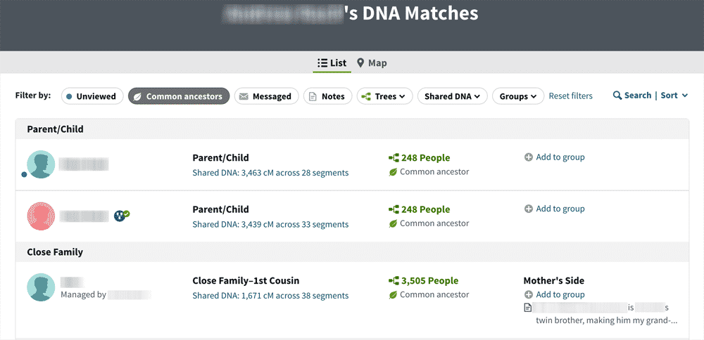 AncestryDNA matches list with Common Ancestors filter selected
