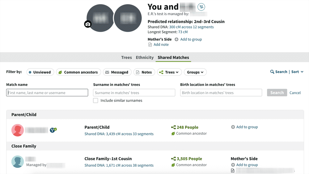 AncestryDNA Shared Matches list with search filter options